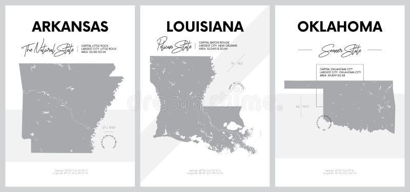 带有美国各州地图高度详细轮廓的矢量海报,中南 — 阿肯色西分区, 皇族释放例证