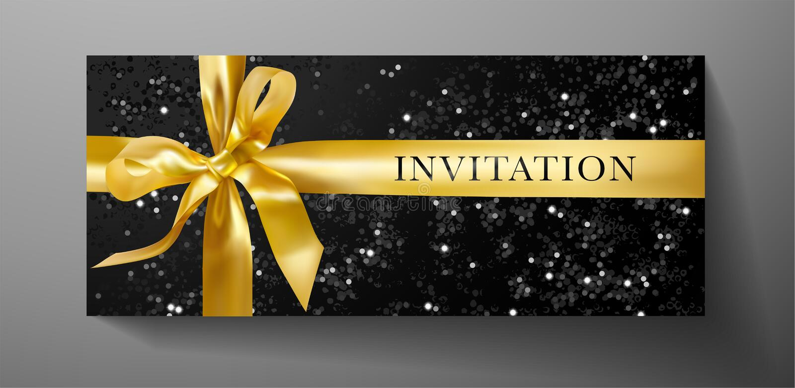 Invitation, Gift certificate or Voucher template with luxurious gold bow, ribbon on black textured background 向量例证