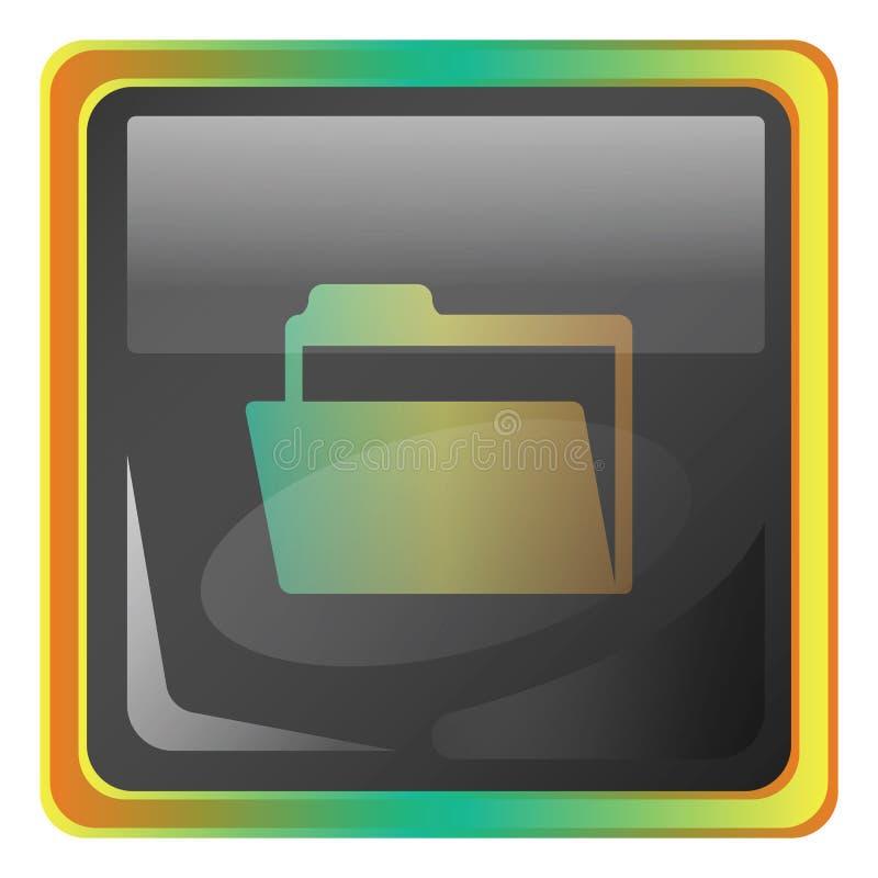 带有黄色和绿色详细信息的文件灰色方向图图标插图 向量例证