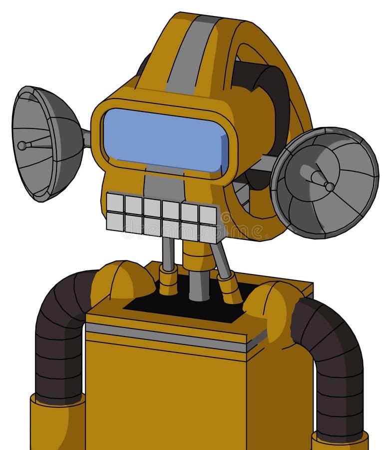 带有Droid头和键盘嘴和大蓝眼镜的深黄自动机 向量例证