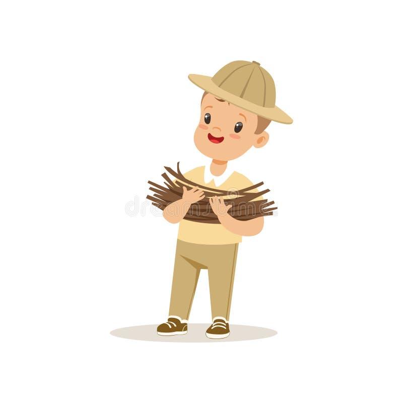 带来一些木柴,室外阵营活动传染媒介例证的侦察员服装的逗人喜爱的小男孩 库存例证