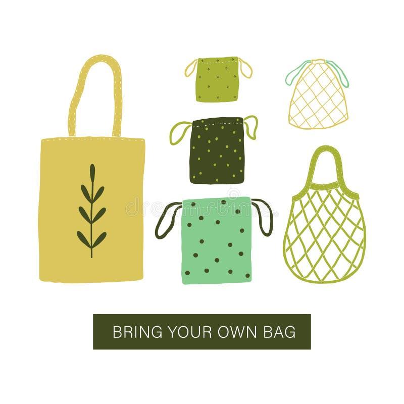 带来您自己的袋子 零的废袋子 库存例证