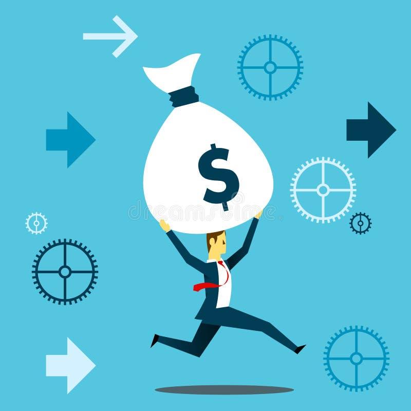 带来某事 商人连续乐趣,当举一个大袋金钱发薪日时 概念企业例证 库存例证