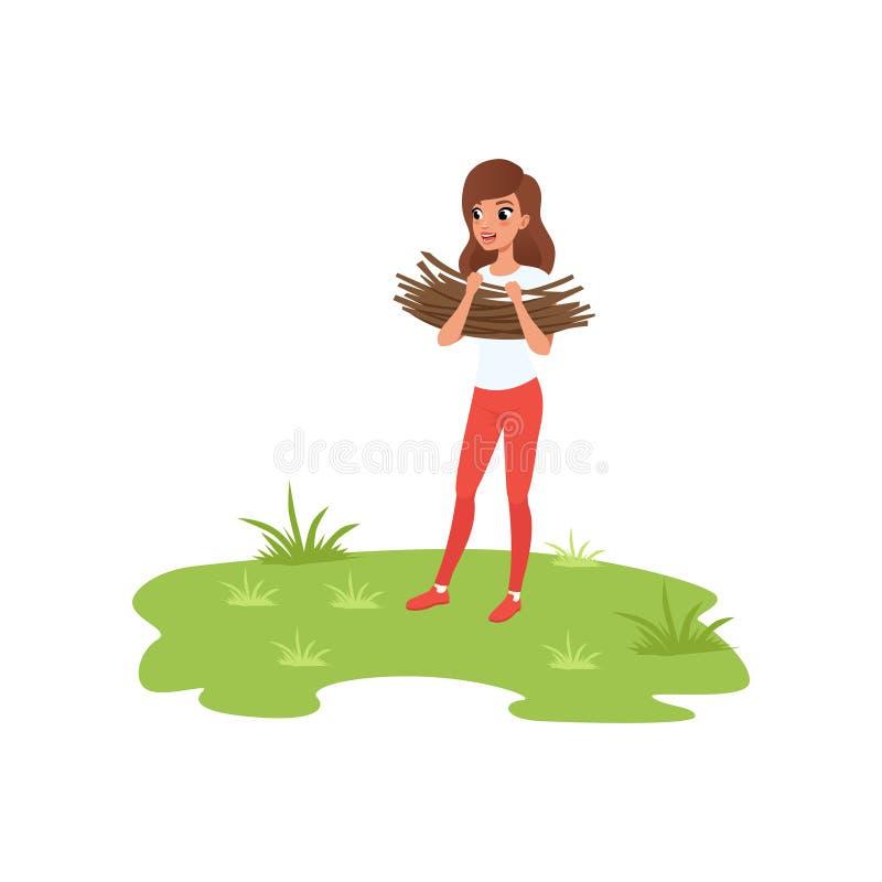 带来草丛,露营车旅游放松的少妇在暑假导航在白色背景的例证 向量例证
