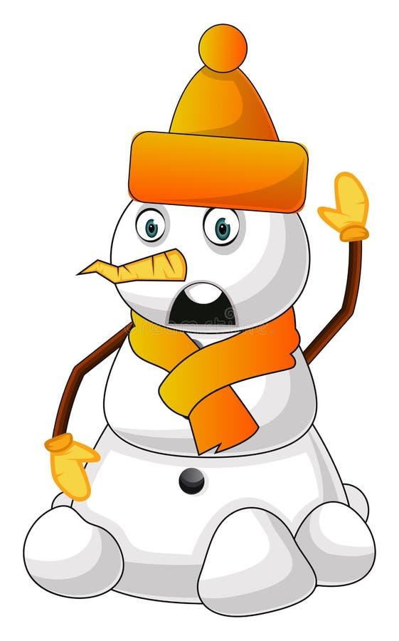 带橘色帽子的雪人插图矢量图 库存例证