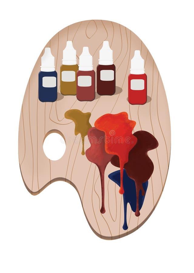 带永久化妆漆的木制艺术家调色板 向量例证