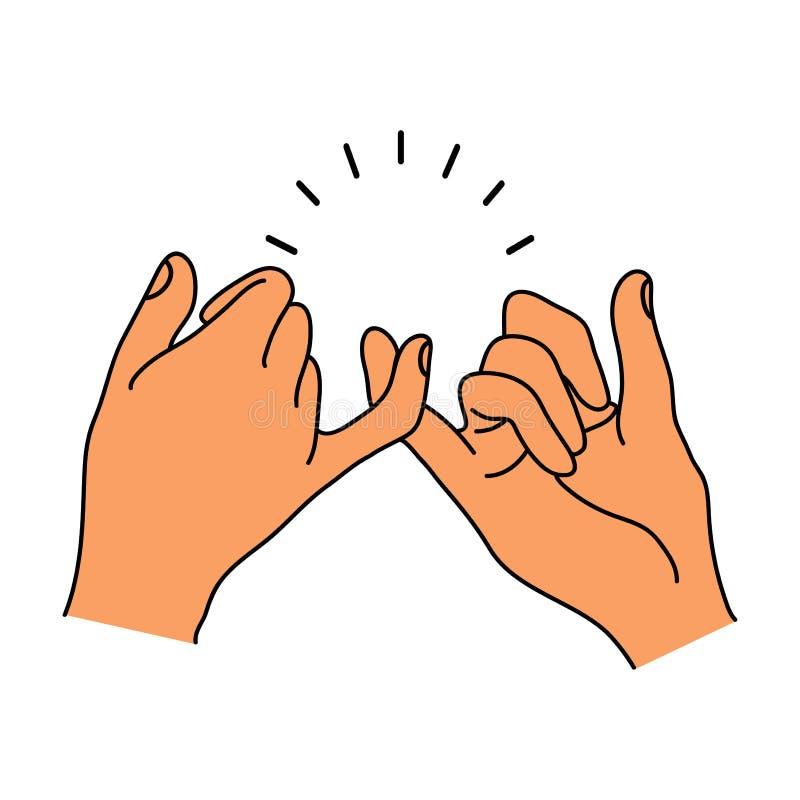 带淡红色诺言手打手势 向量例证
