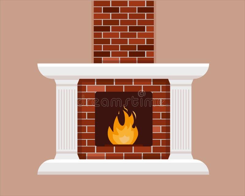 带火焰的砖砌壁炉 库存例证