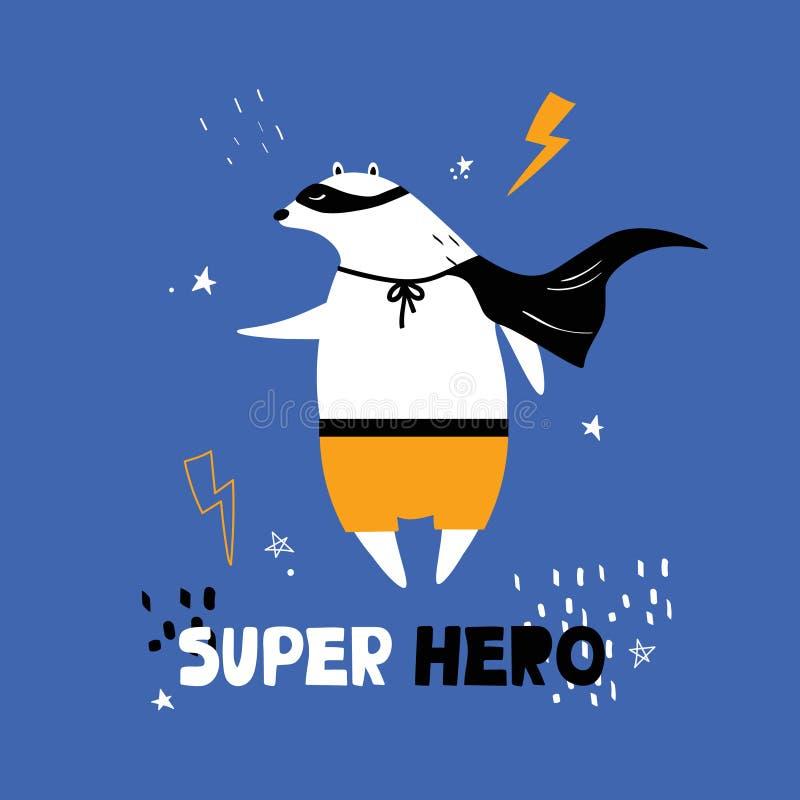 带熊、闪电、星星和英文文字的彩色背景 超级英雄 用动物装饰的可爱插图 向量例证