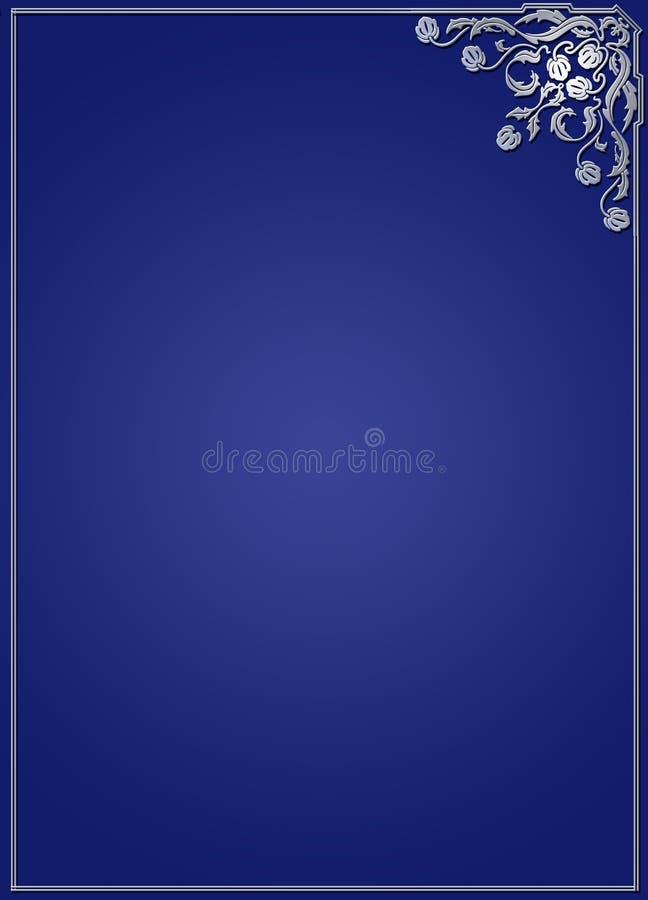 带状装饰在蓝色的设计框架 库存例证
