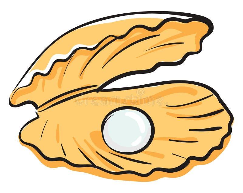带珍珠矢量图或彩色插图的卡通牡蛎 库存例证