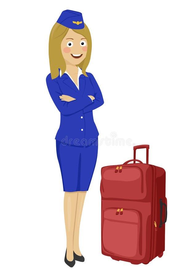 带着在白色背景隔绝的手提箱的年轻美丽的空中小姐 向量例证