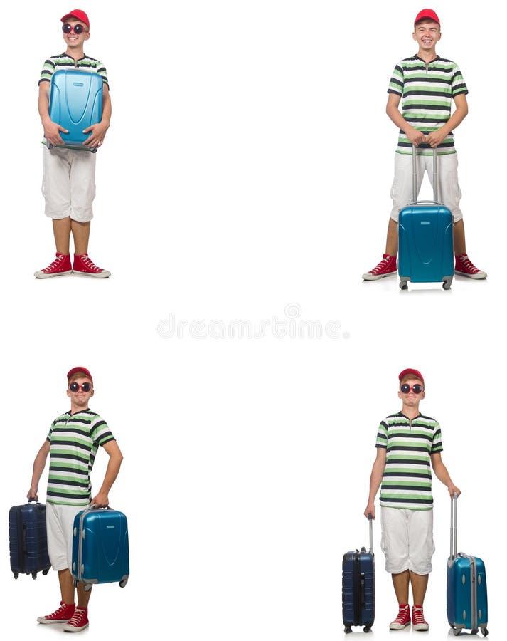 带着在白色隔绝的手提箱的年轻人 库存图片