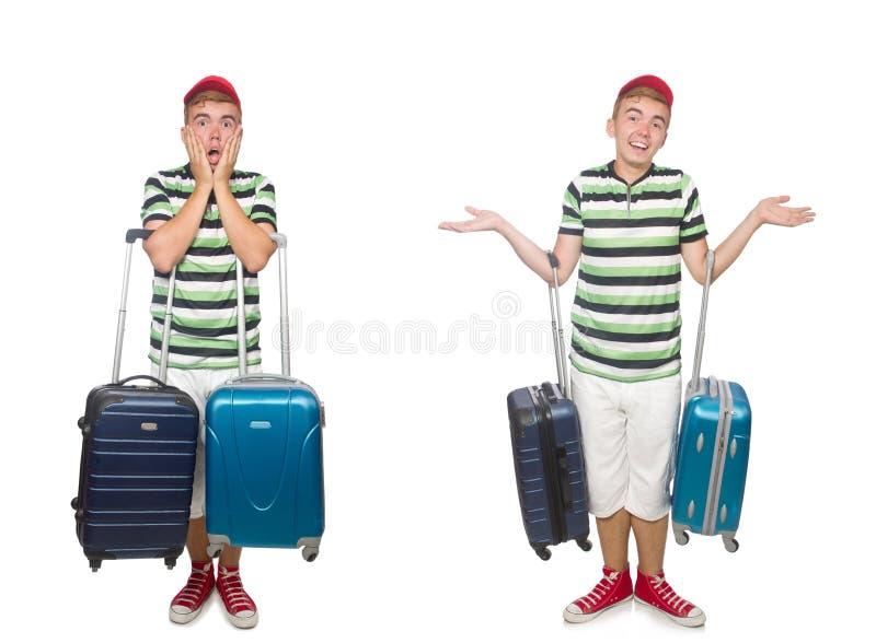 带着在白色隔绝的手提箱的年轻人 免版税库存照片