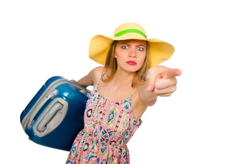 Download 带着在白色隔绝的手提箱的妇女 库存照片. 图片 包括有 喜怒无常, 旅途, 激怒, 节假日, 装箱, 查出 - 72361322