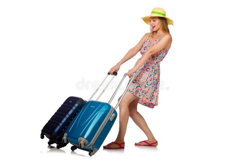 Download 带着在白色隔绝的手提箱的妇女 库存照片. 图片 包括有 女孩, 动物, 被证章的, 沮丧, 冒险家, 乐趣 - 72363294