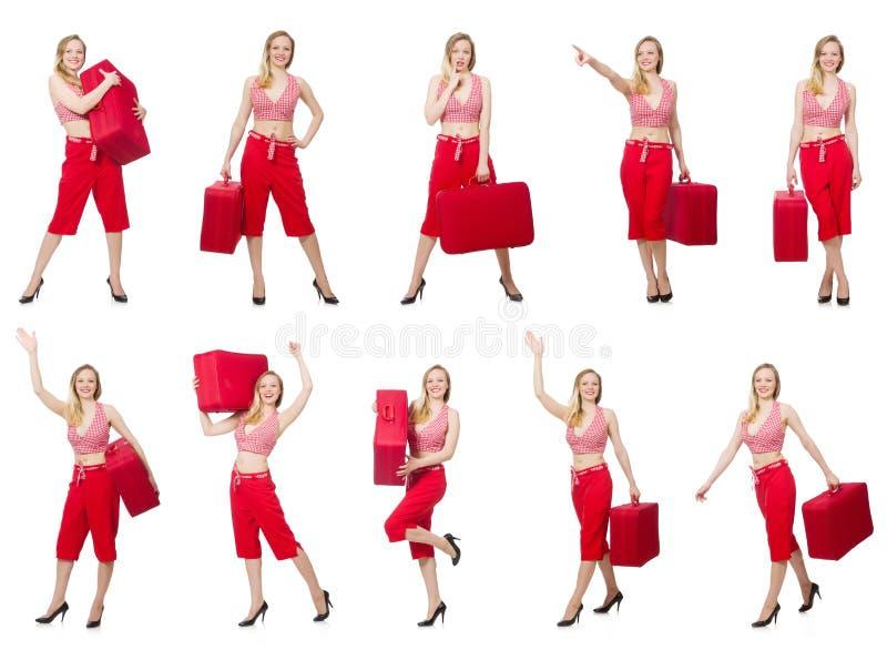 Download 带着在白色隔绝的手提箱的旅行的妇女 库存图片. 图片 包括有 成人, 帽子, 查出, 偶然, beautifuler - 72359985