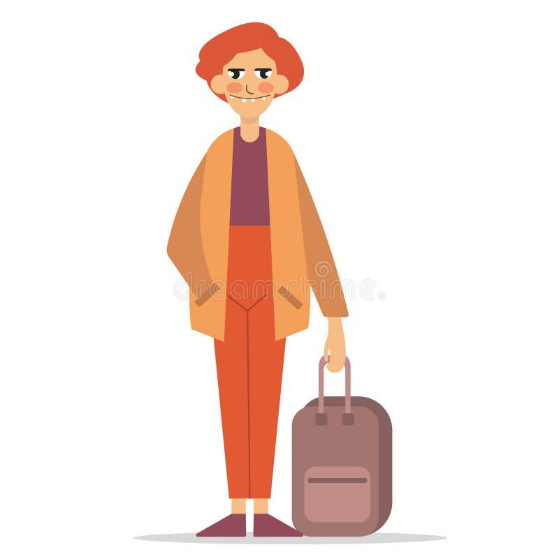 带着手提箱的人 向量例证