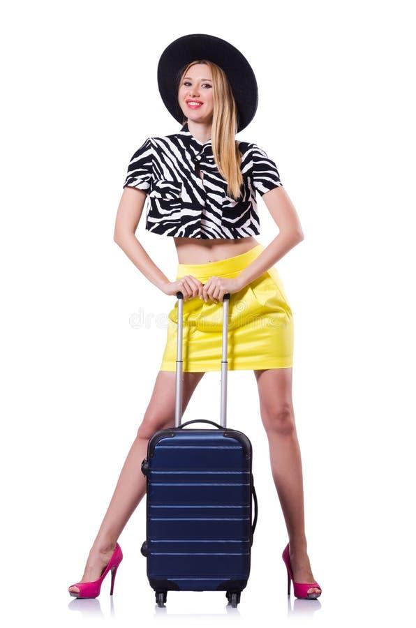 带着手提箱的少妇 免版税库存照片