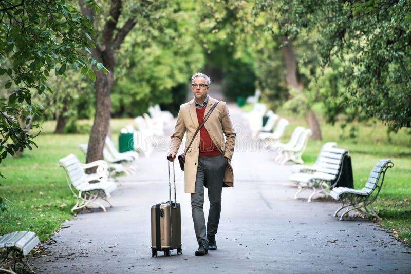 带着手提箱的成熟商人走在一个公园的在城市 库存照片