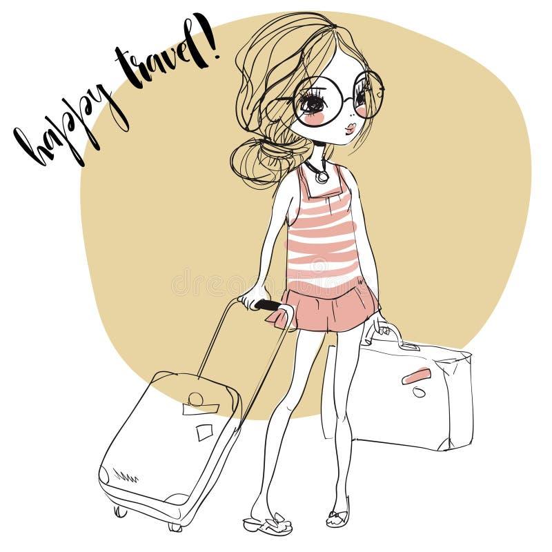 带着手提箱的时尚女孩 库存例证