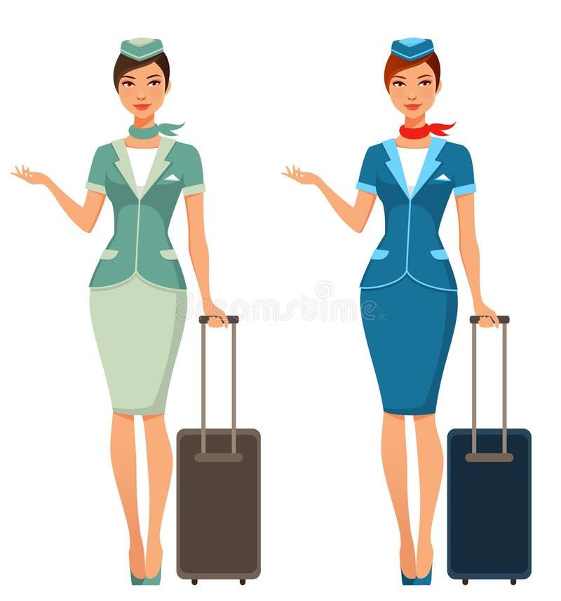 带着手提箱的逗人喜爱的动画片空中小姐 向量例证