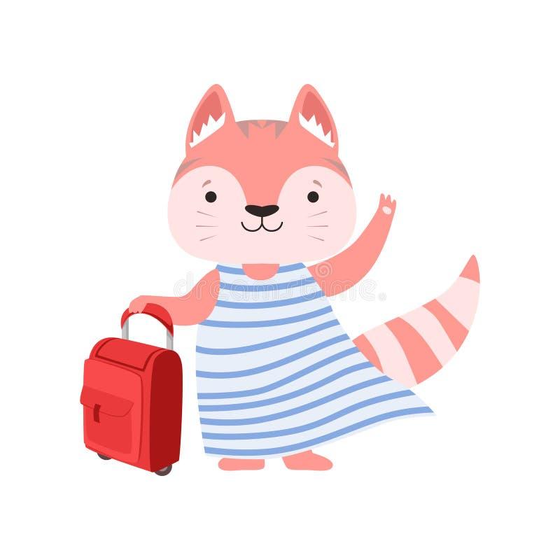 带着手提箱,旅行在暑假在a的传染媒介例证的逗人喜爱的动物卡通人物的快乐的旅游猫 向量例证