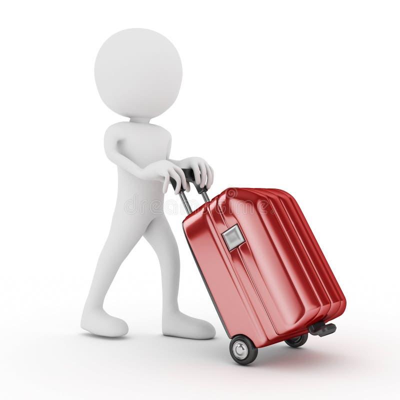 带着红色手提箱的人 免版税库存图片
