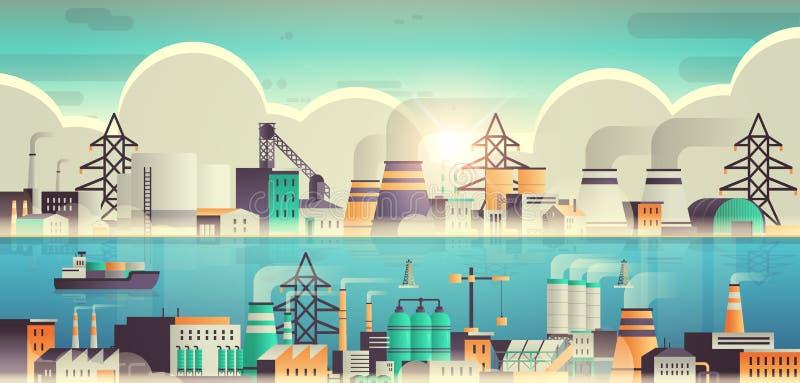 带管烟囱自然污染生产工艺污水空气工厂化工业区厂房 向量例证