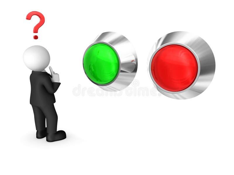 带红绿纽扣的黑套间3D商人 选择概念 皇族释放例证