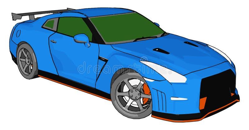 带绿色窗和橙色细节的蓝色赛车和灰色后扰流板矢量图示 皇族释放例证