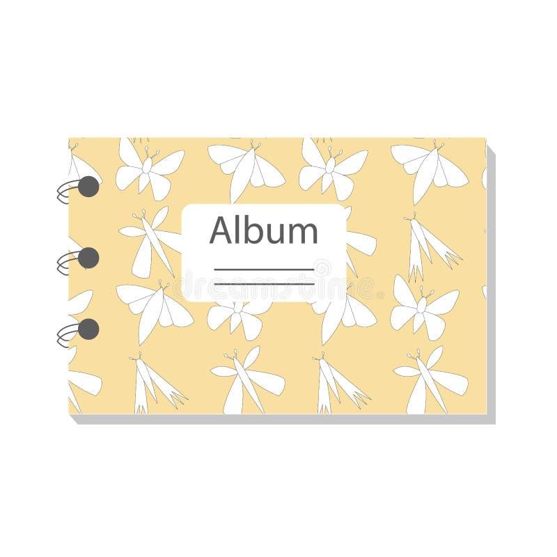 带蝴蝶图案的彩色笔记本 纸、封面、织物、内饰的现代抽象矢量设计 S 向量例证