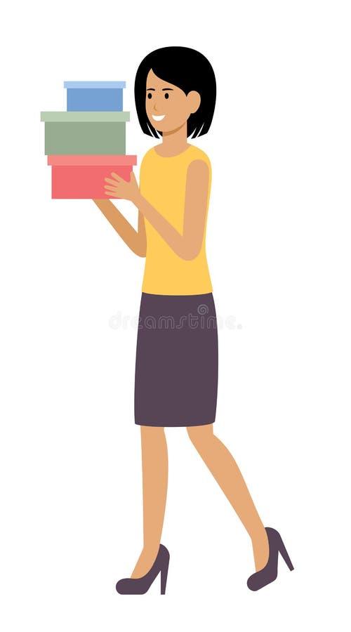 带购物箱的女人 购物狂 库存例证