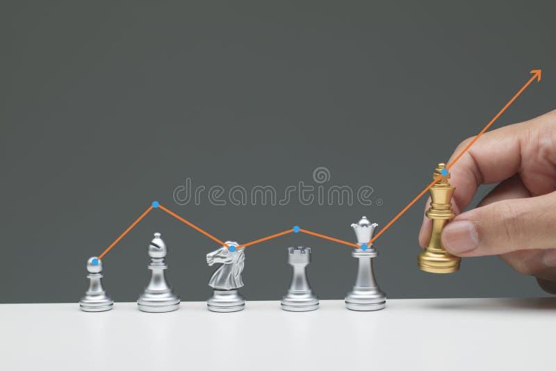 带走棋概念国王的,成长企业手 免版税库存图片