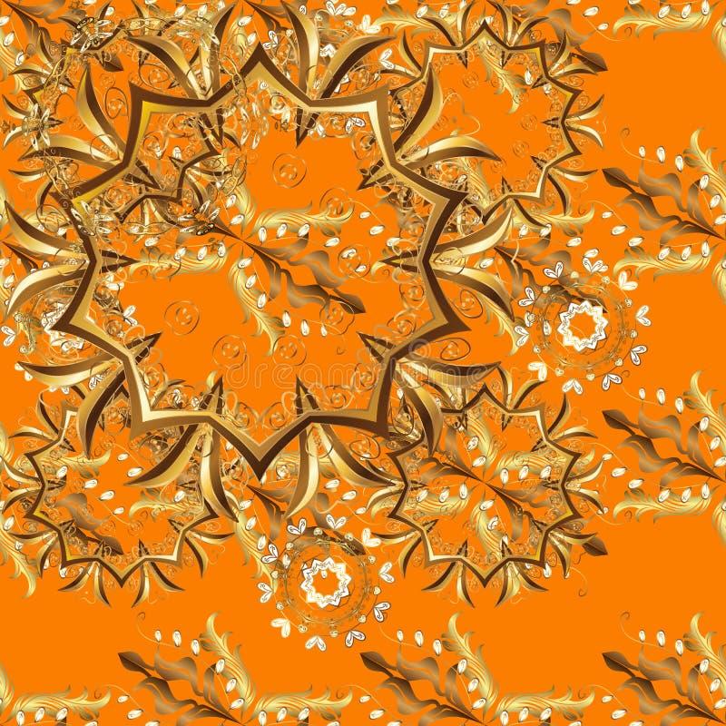 带金元素的棕色和橙色 向量例证