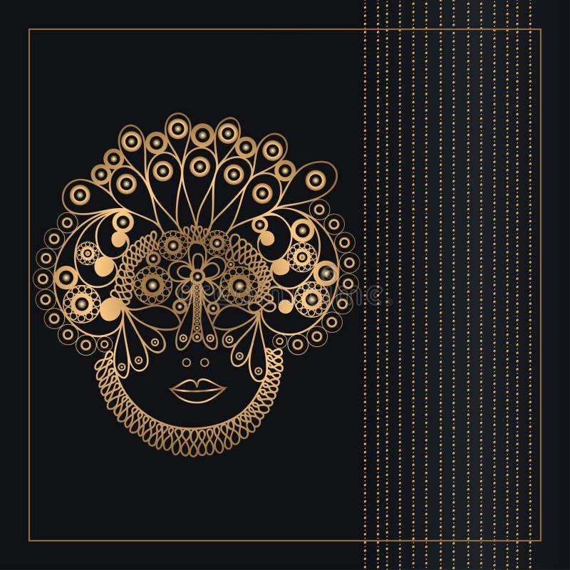 带金色蒙版2的图形插图 库存例证