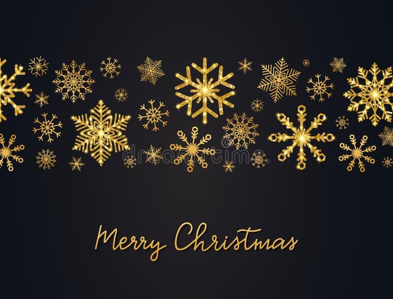 带金雪花和手写的圣诞背景 金雪花闪闪发光的胶带 梅里 皇族释放例证