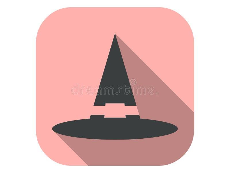 带阴影的女巫帽扁平图标 向导上限 万圣节,10月31日矢量图 库存例证