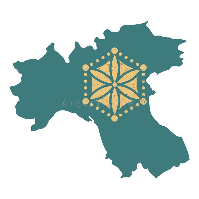 带阿尔卑斯山脉太阳变体的帕达尼亚地图剪影孤立矢量图插图 帕达尼亚图标 皇族释放例证