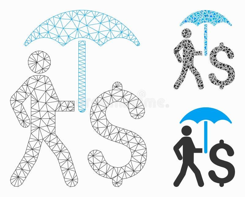 带雨伞矢量网格网络模型和三角镶嵌图的步行商人 皇族释放例证