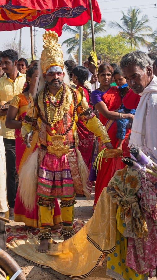 带领一支印度队伍在卡纳塔克邦 图库摄影