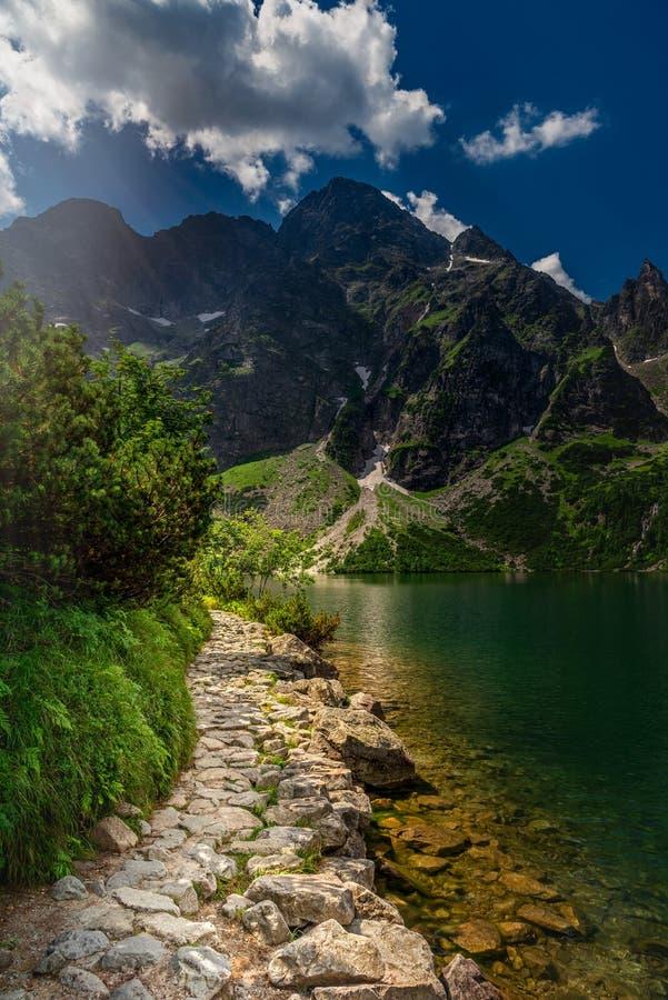 带领往高山的岩石道路 图库摄影