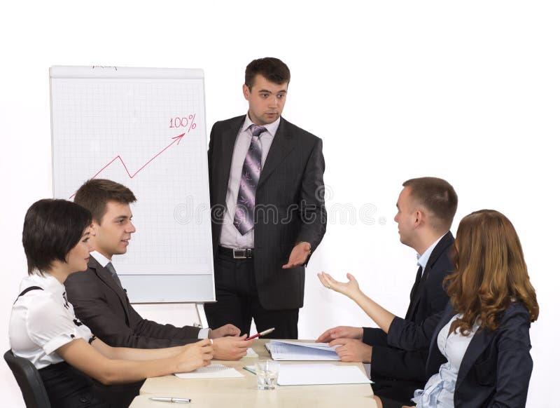 带领激发灵感的年轻男性经理 免版税库存照片