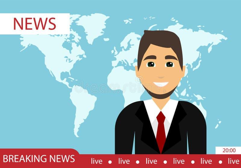 带领的新闻节目 最新的新闻 3d抽象背景蓝色图象新闻照片回报世界 平的设计 向量例证