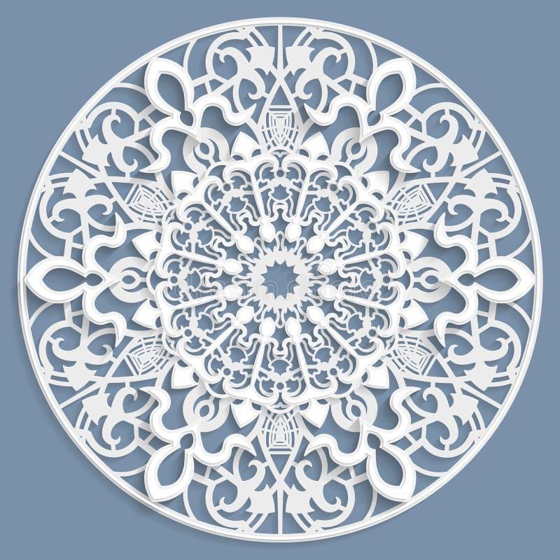 系带3D坛场,圆的对称透雕细工样式,有花边的小垫布,装饰雪花,阿拉伯装饰品,印地安装饰品,压印 皇族释放例证
