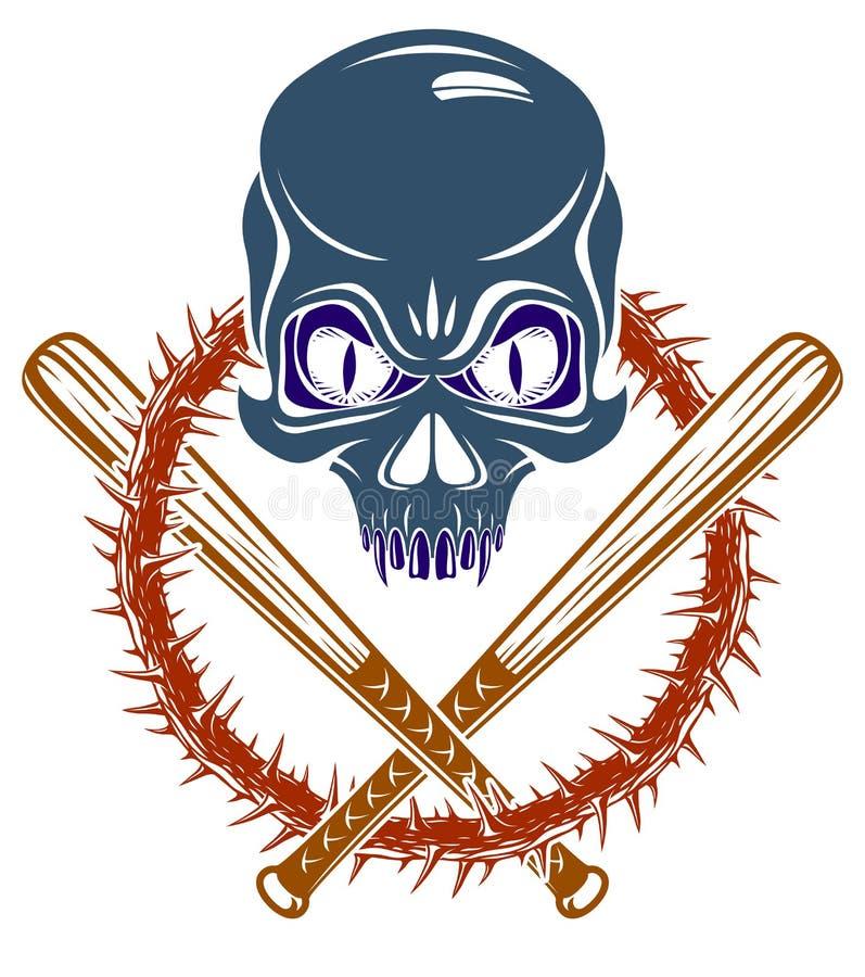帮会残酷犯罪象征或商标与积极的头骨棒球棒设计元素,传染媒介无政府状态罪行恐怖减速火箭的样式, 向量例证
