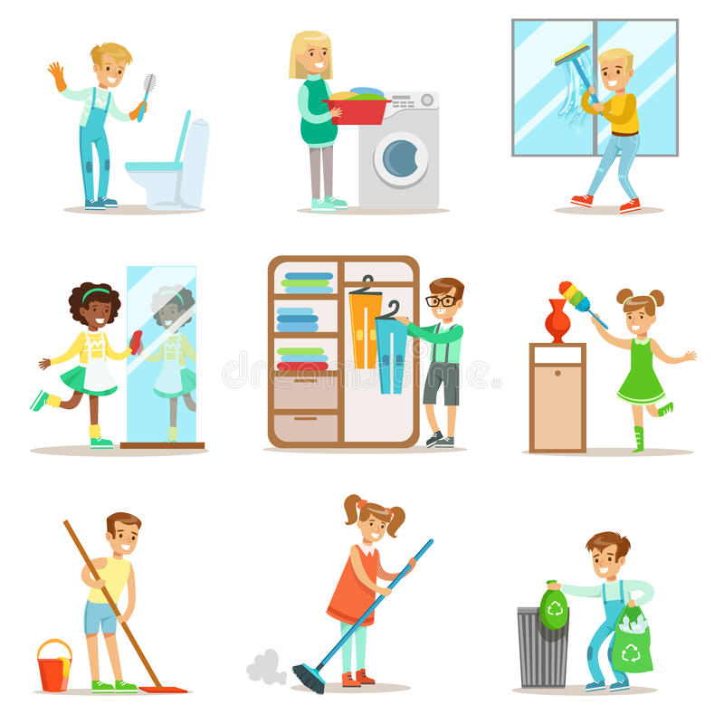 帮助与家庭清洁的孩子,华盛顿州地板,把垃圾、华盛顿州的Windows和镜子扔出去 向量例证
