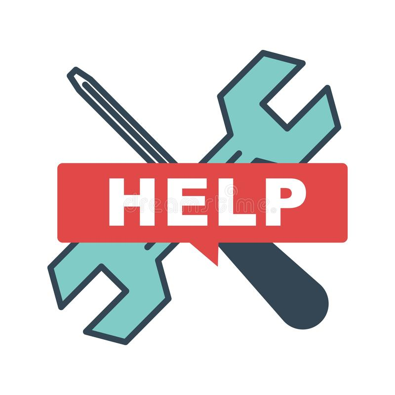 帮助中心工具和仪器为定象损伤 向量例证