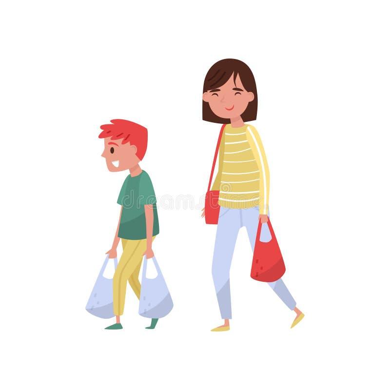 帮助他的母亲的孩子运载购物袋 礼貌的男孩和少妇 有有礼貌的孩子 平的传染媒介设计 向量例证