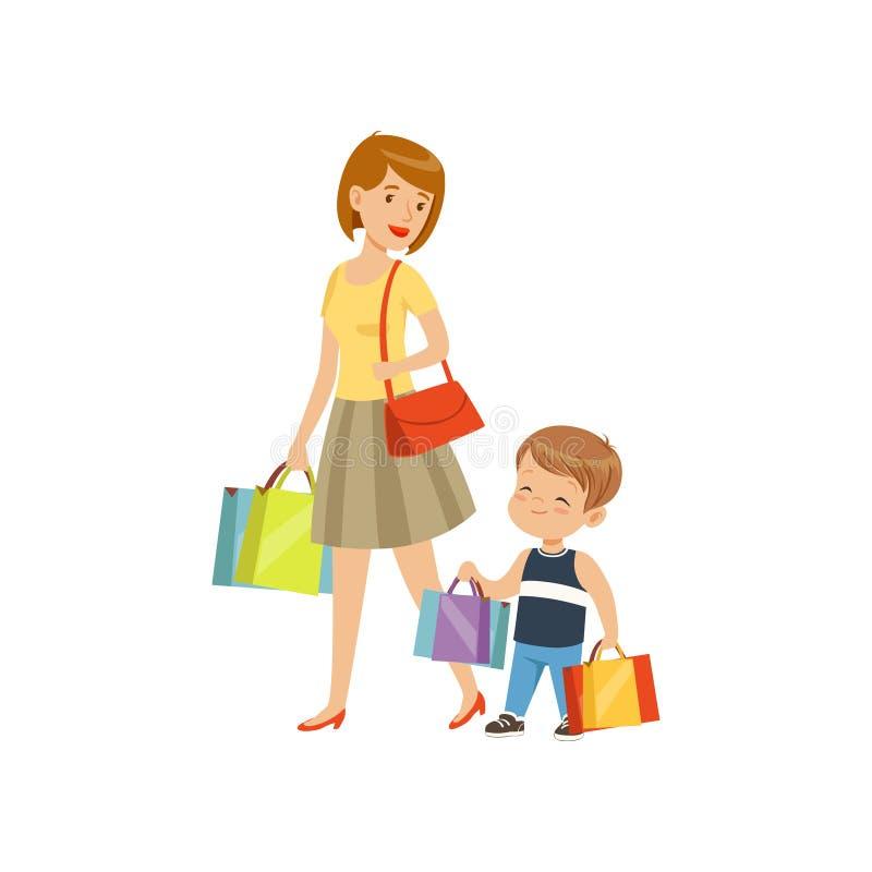 帮助他的母亲的小男孩运载购物袋,孩子有礼貌概念在白色背景的传染媒介例证 库存例证